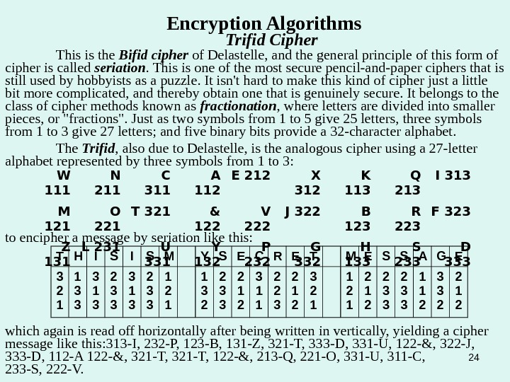 24 Encryption Algorithms Trifid Cipher This is the Bifid cipher of Delastelle, and the general principle