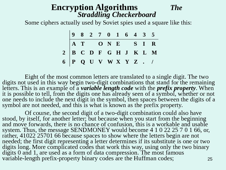 25 Some ciphers actually used by Soviet spies used a square like this: Encryption Algorithms