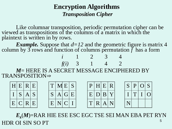 5 Encryption Algorithms Transposition Cipher Like columnar transposition, periodic permutation cipher can be viewed as transpositions