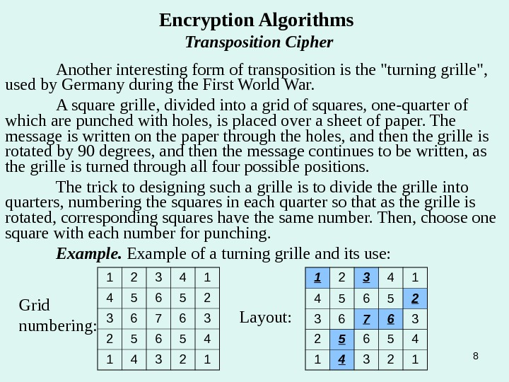 8 Encryption Algorithms Transposition Cipher Another interesting form of transposition is the turning grille,  used