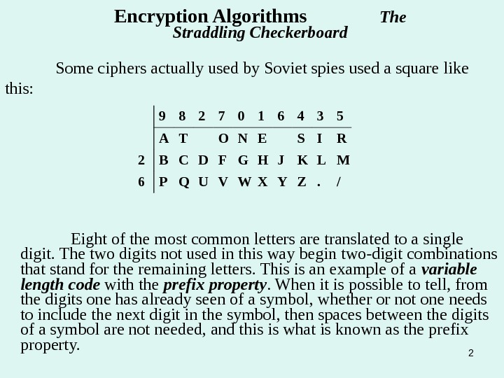 2 Some ciphers actually used by Soviet spies used a square like this: Encryption Algorithms
