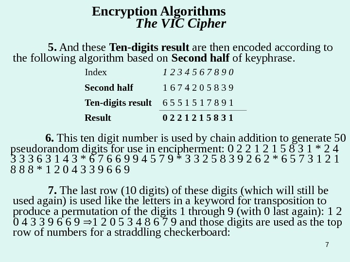 75.  And these Ten-digits  result are then encoded according to the following algorithm based