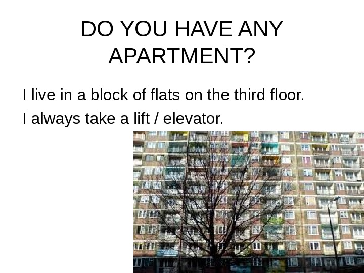 DO YOU HAVE ANY APARTMENT? I live in a block of flats on the
