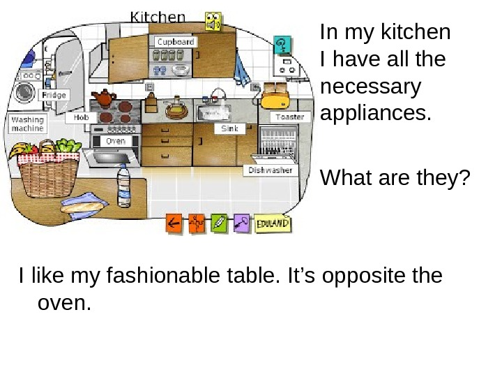 In my kitchen I have all the necessary appliances. What are they? I like
