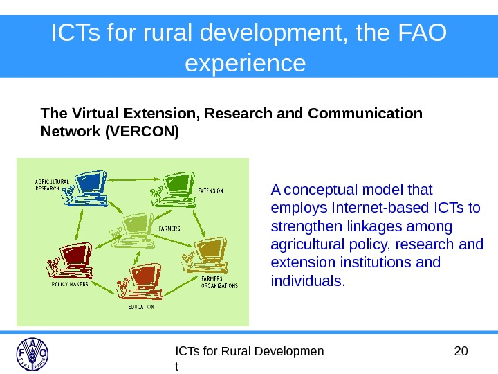 ICTs for Rural Developmen t 20 ICTs for rural development, the FAO experience  The Virtual
