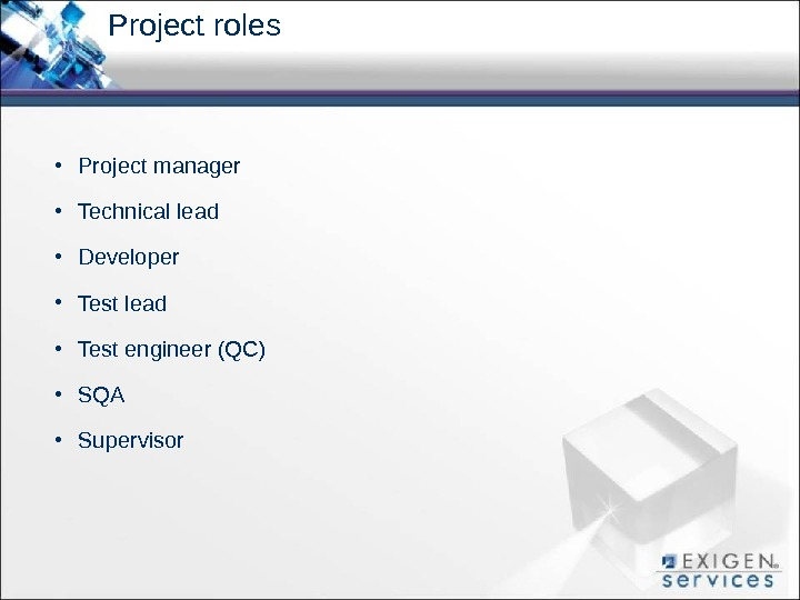 Project roles • Project manager • Technical lead • Developer • Test lead • Test engineer
