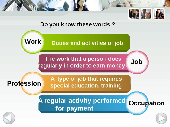Work Job Profession Occupation  Duties and activities of job  The work that a person