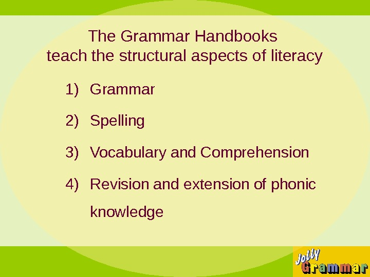 The Grammar Handbooks teach the structural aspects of literacy 1) Grammar 2) Spelling 3) Vocabulary and