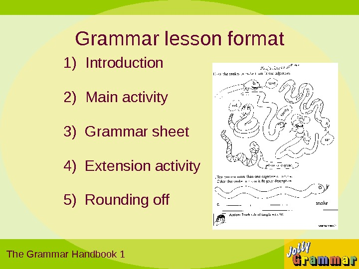 Grammar lesson format 1)  Introduction 2)  Main activity 3) Grammar sheet 4) Extension activity