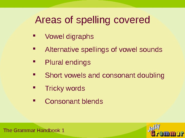 Areas of spelling covered Vowel digraphs Alternative spellings of vowel sounds Plural endings Short vowels and