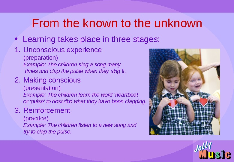 From the known to the unknown • Learning takes place in three stages: 1. Unconscious experience