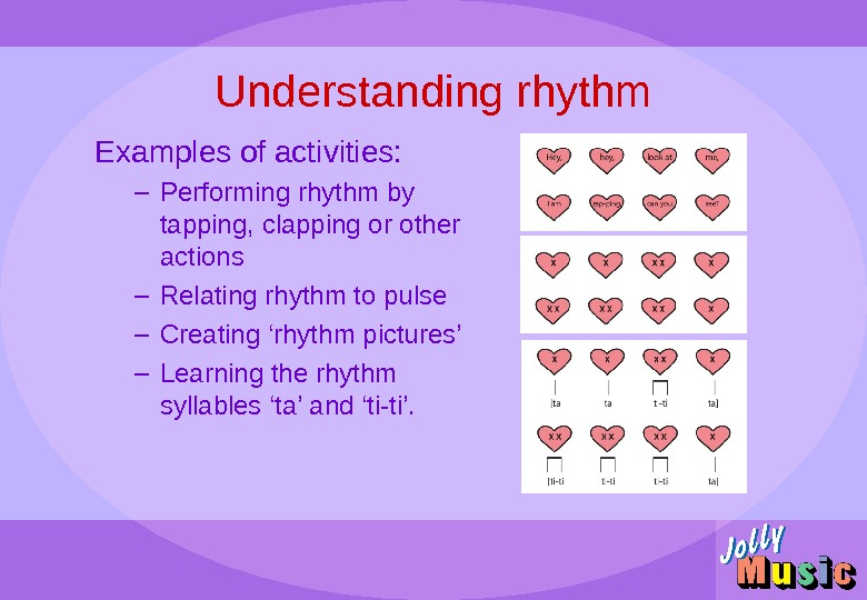 Understanding rhythm Examples of activities: – Performing rhythm by tapping, clapping or other actions – Relating