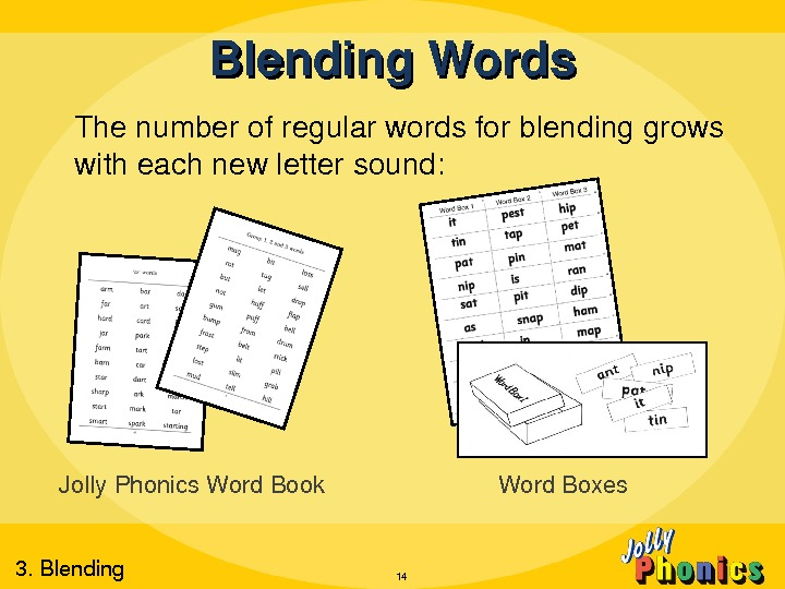 Blending. Words Thenumberofregularwordsforblendinggrows witheachnewlettersound: 14 Jolly. Phonics. Word. Book Word. Boxes 3. Blending