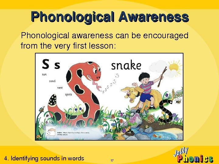 Phonological. Awareness Phonologicalawarenesscanbeencouraged fromtheveryfirstlesson: 174. Identifyingsoundsinwords