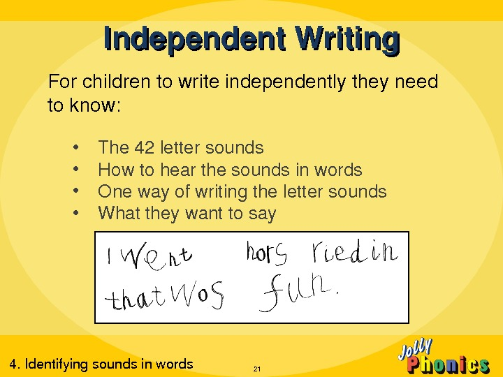 Forchildrentowriteindependentlytheyneed toknow:  • The 42 lettersounds • Howtohearthesoundsinwords • Onewayofwritingthelettersounds • Whattheywanttosay Independent. Writing 214.