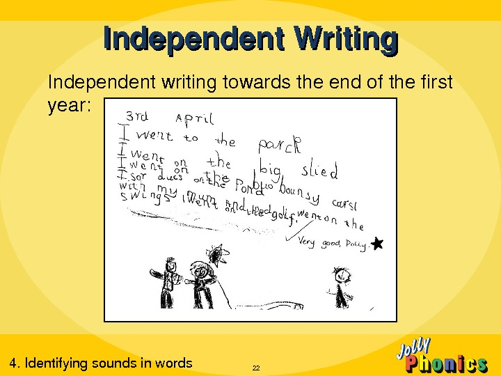 Independentwritingtowardstheendofthefirst year: Independent. Writing 224. Identifyingsoundsinwords
