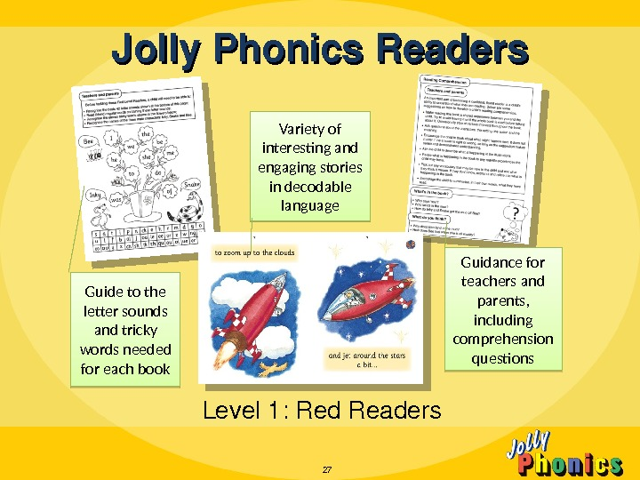 Jolly. Phonics. Readers Level 1: Red. Readers 27 Guide to the letter sounds and tricky words