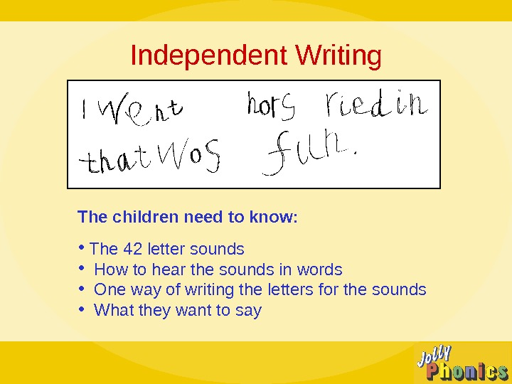 Independent Writing The children need to know:  •  The 42 letter sounds • How