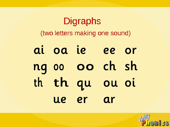 Digraphs (two letters making one sound)