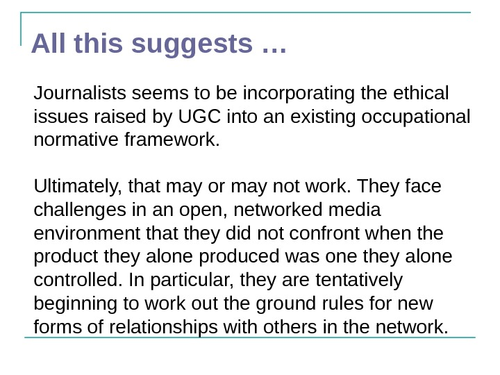 All this suggests … Journalists seems to be incorporating the ethical issues raised by