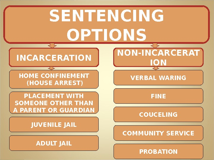 SENTENCING OPTIONS INCARCERATION NON-INCARCERAT ION HOME CONFINEMENT  (HOUSE ARREST) PLACEMENT WITH SOMEONE OTHER THAN A