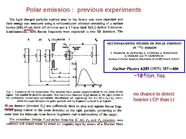 Polar emission :  previous experiments nochancetodetect heavier. LCPthan. Li