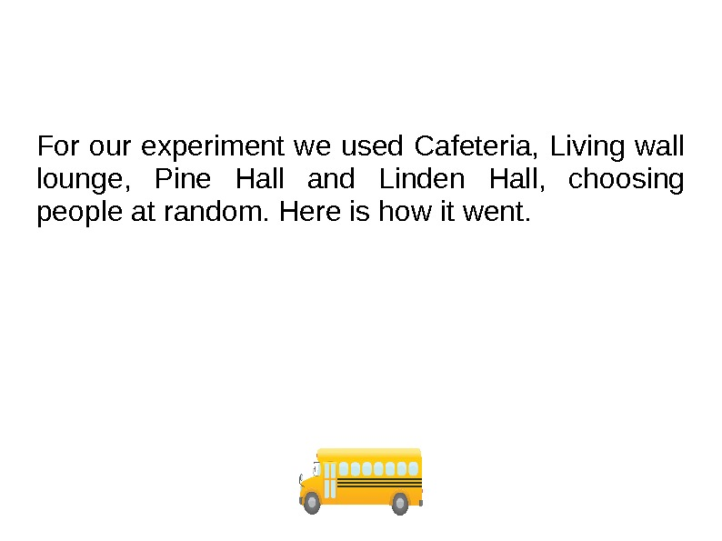 For our experiment we used Cafeteria, Living wall lounge,  Pine Hall and Linden