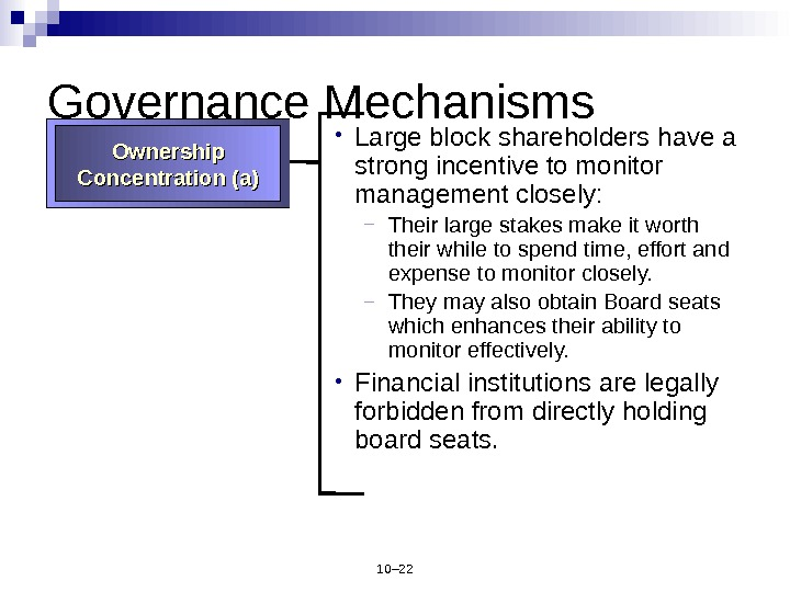 10– 22 Governance Mechanisms • Large block shareholders have a strong incentive to monitor management closely:
