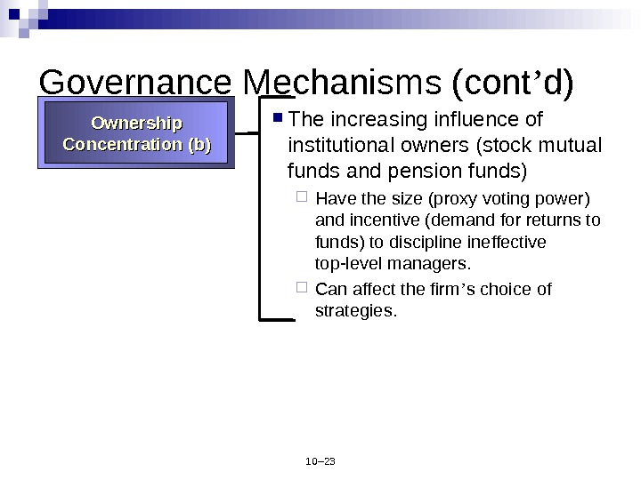 10– 23 Governance Mechanisms (cont ' d) The increasing influence of institutional owners (stock mutual funds