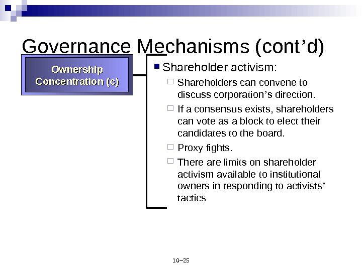 10– 25 Governance Mechanisms (cont ' d) Shareholder activism:  Shareholders can convene to discuss corporation