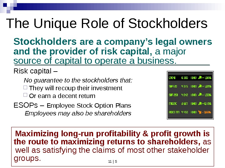 11 | 5 Risk capital –  No guarantee to the stockholders that:  They will