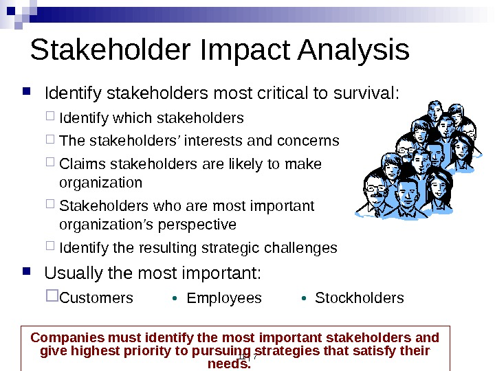 11 | 7  Identify stakeholders most critical to survival:  Identify which stakeholders The stakeholders'