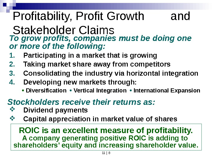 11 | 8 Profitability, Profit Growth  and Stakeholder Claims 1. Participating in a market that