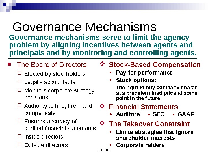 11 | 10 Governance Mechanisms Governance mechanisms serve to limit the agency problem by aligning incentives