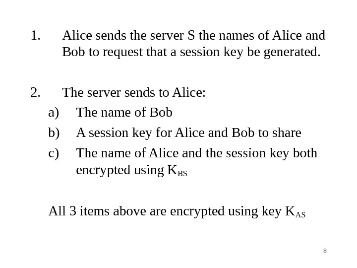 81. Alice sends the server S the names of Alice and Bob to request that a