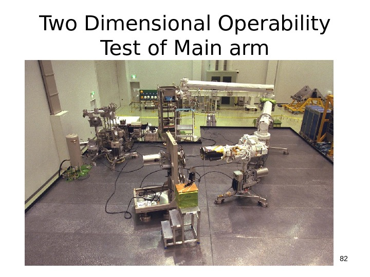 Two Dimensional Operability Test of Main arm 82
