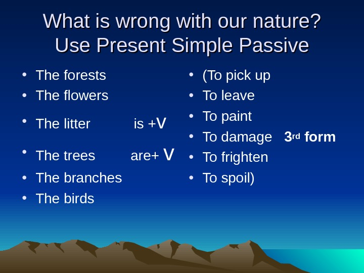 What is wrong with our nature? Use Present Simple Passive • The forests • The flowers