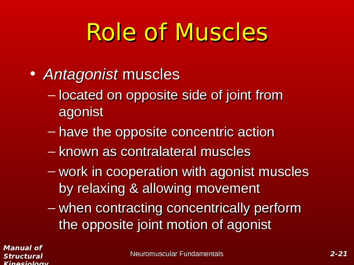 Manual of Structural Kinesiology Neuromuscular Fundamentals 2 -2 - 2121 Role of Muscles • Antagonist