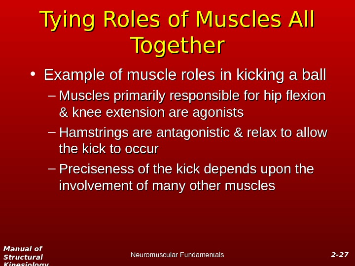 Manual of Structural Kinesiology Neuromuscular Fundamentals 2 -2 - 2727 Tying Roles of Muscles All Together