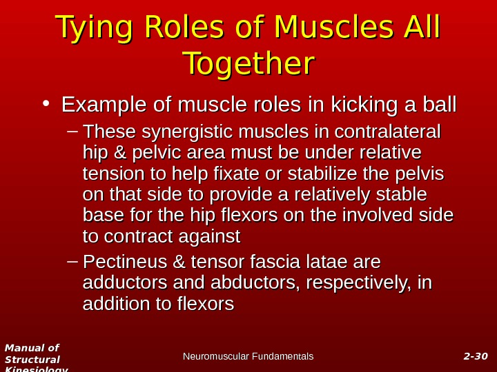 Manual of Structural Kinesiology Neuromuscular Fundamentals 2 -2 - 3030 Tying Roles of Muscles All Together