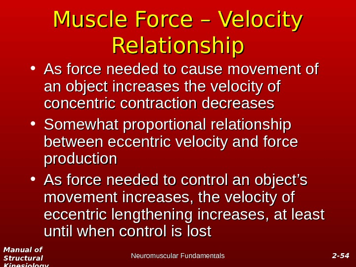 Manual of Structural Kinesiology Neuromuscular Fundamentals 2 -2 - 5454 Muscle Force – Velocity Relationship •