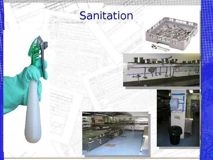 Sanitation Easily washable and durable materials Wall hung equipment Proper drainage and washable ceilings