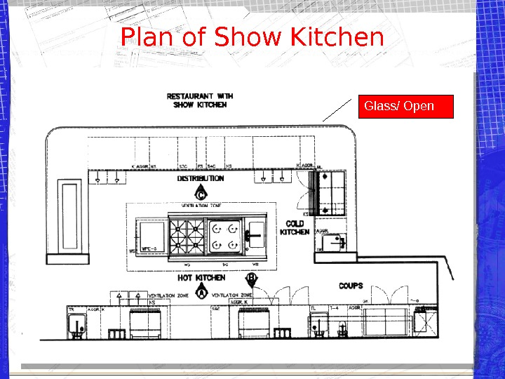 Plan of Show Kitchen Glass/ Open