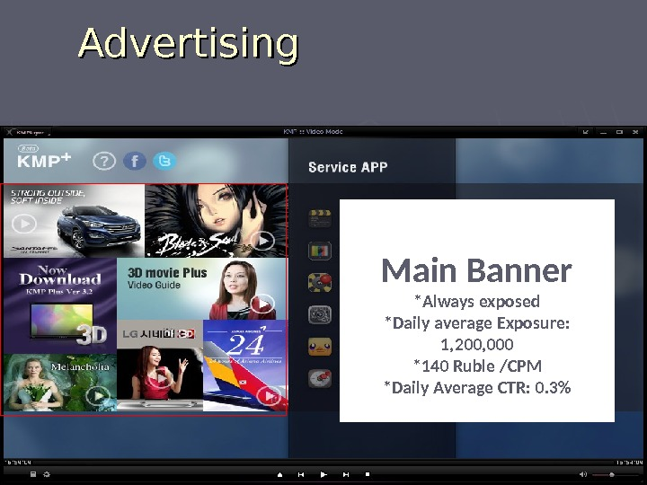 Advertising Main Banner *Always exposed *Daily average Exposure:  1, 200, 000 *140 Ruble