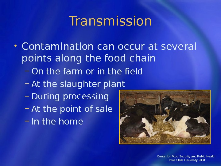 Center for Food Security and Public Health  Iowa State University 2004 Transmission • Contamination can