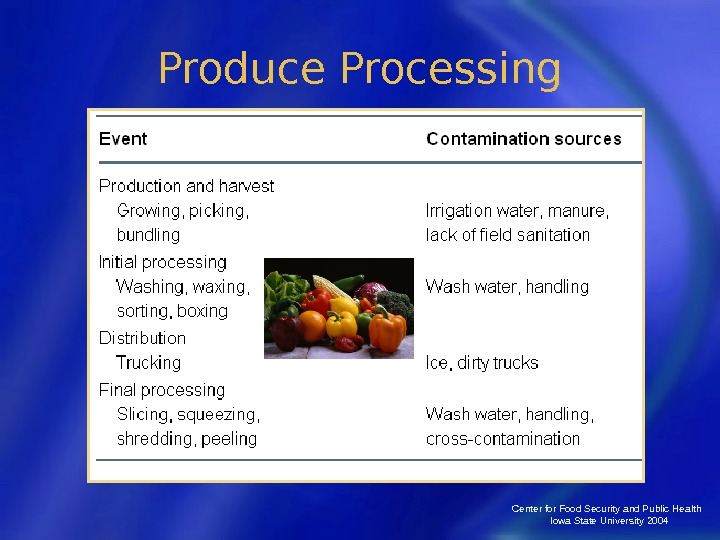 Center for Food Security and Public Health  Iowa State University 2004 Produce Processing
