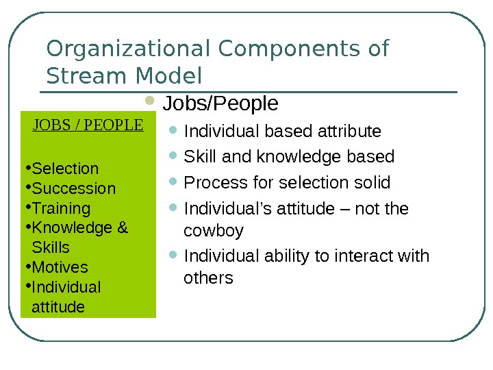 Organizational Components of Stream Model Jobs/People • Individual based attribute • Skill and knowledge based •