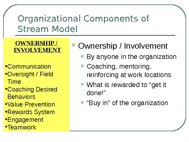 Organizational Components of Stream Model Ownership / Involvement • By anyone in the organization • Coaching,