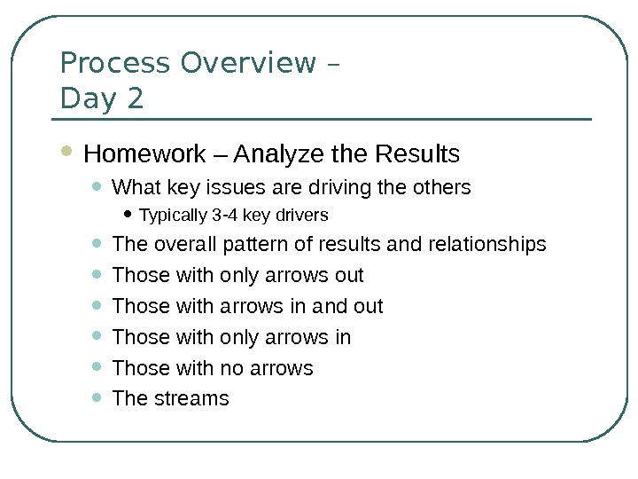 Process Overview – Day 2 Homework – Analyze the Results • What key issues are driving