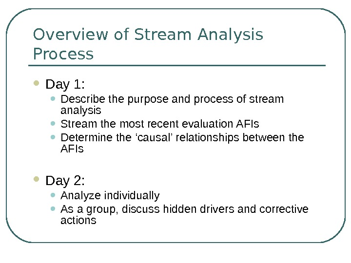 Overview of Stream Analysis Process Day 1:  • Describe the purpose and process of stream